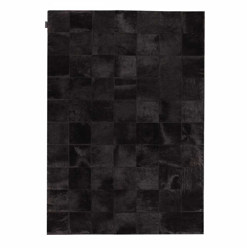 tapis haut de gamme en peau de vache noire style patchwork. Black Bedroom Furniture Sets. Home Design Ideas