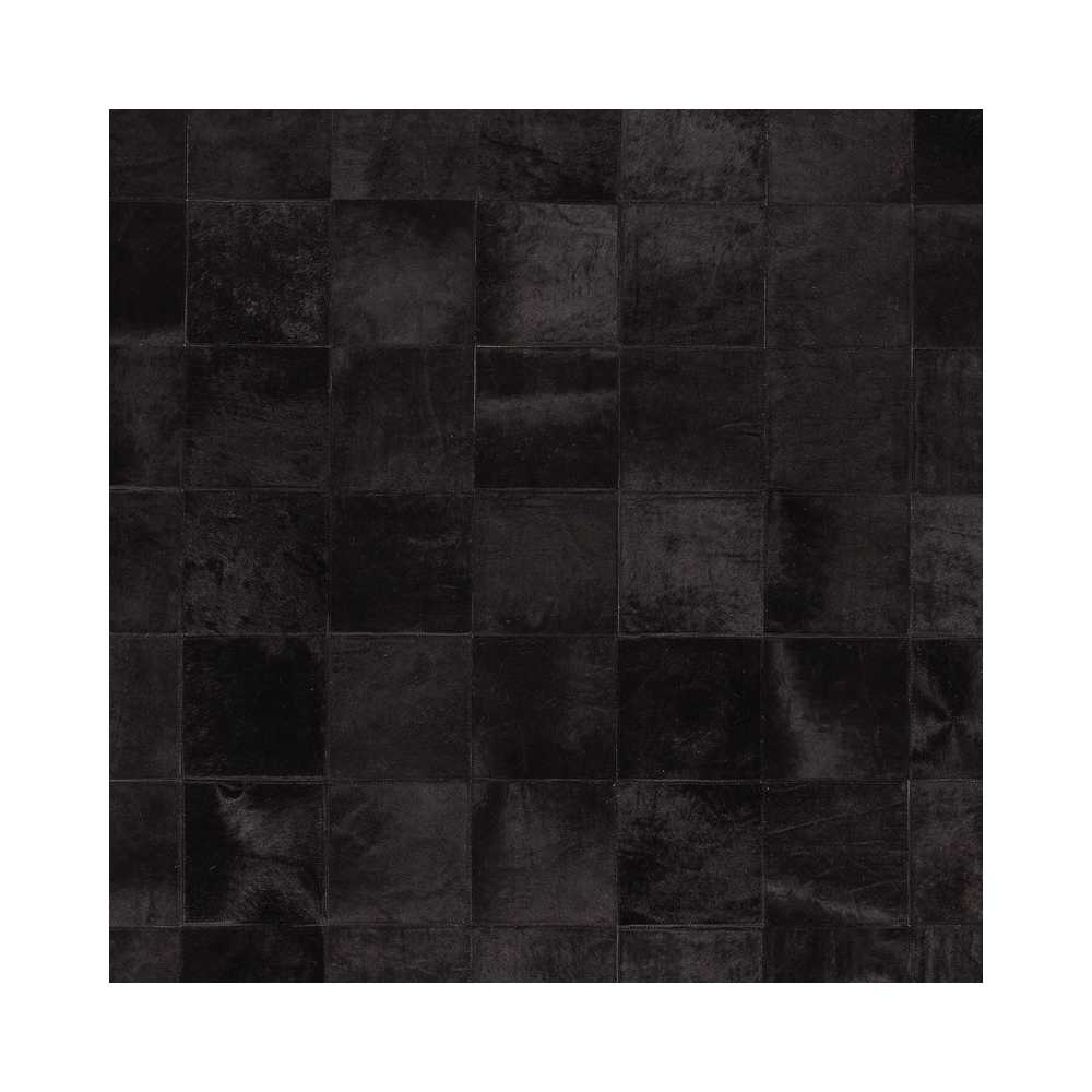 tapis haut de gamme en peau de vache noire style patchwork par angelo. Black Bedroom Furniture Sets. Home Design Ideas