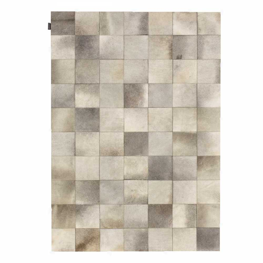 tapis de salon prestige beige en cuir de vache style patchwork par angelo. Black Bedroom Furniture Sets. Home Design Ideas