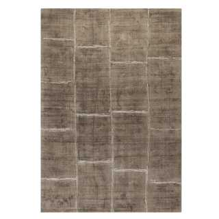Tapis prestige taupe à carreaux en viscose Reflect par Ligne Pure