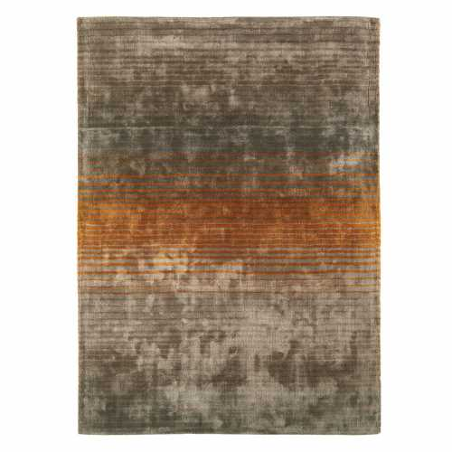 tapis design gris taupe et orange en viscose doux
