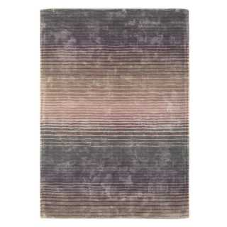 Tapis contemporain multicolore rayé en viscose dans les tons profonds