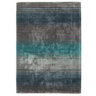 Tapis design multicolore rayé en viscose fait main