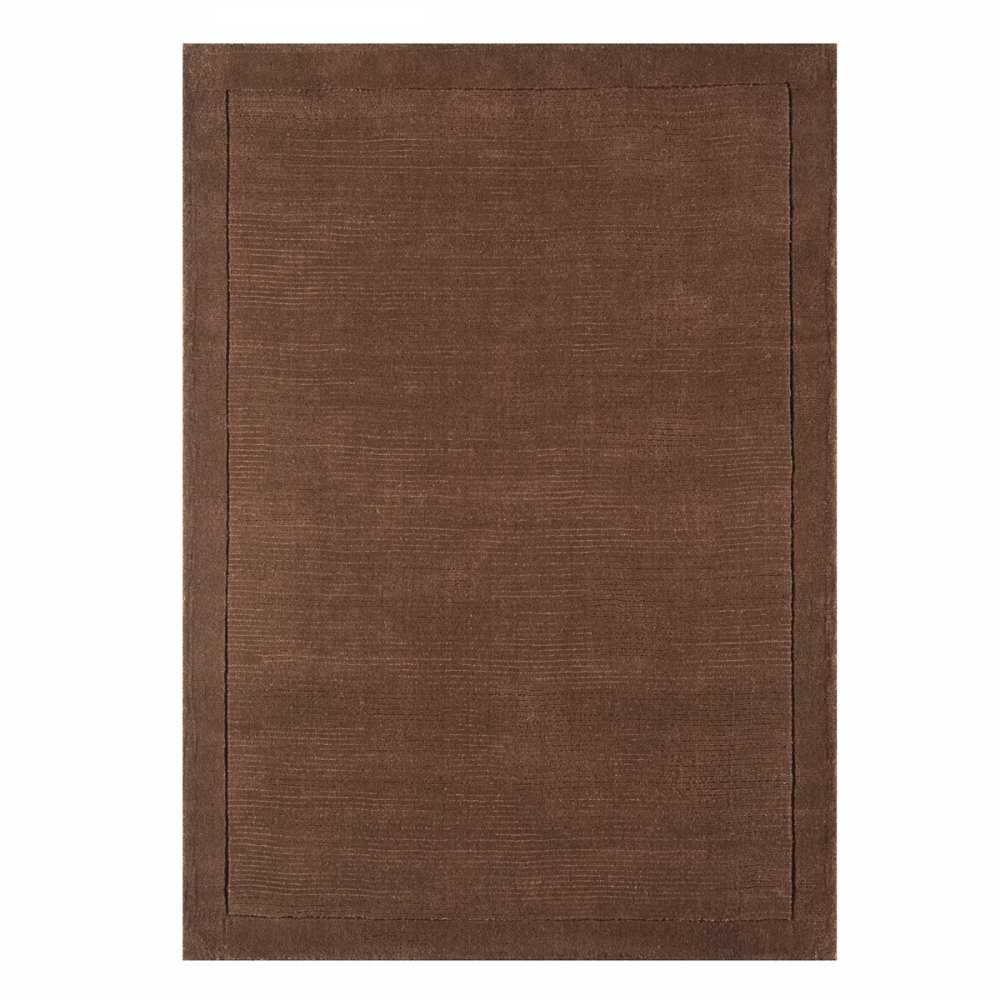 tapis de luxe marron chocolat uni en laine tiss main en inde. Black Bedroom Furniture Sets. Home Design Ideas