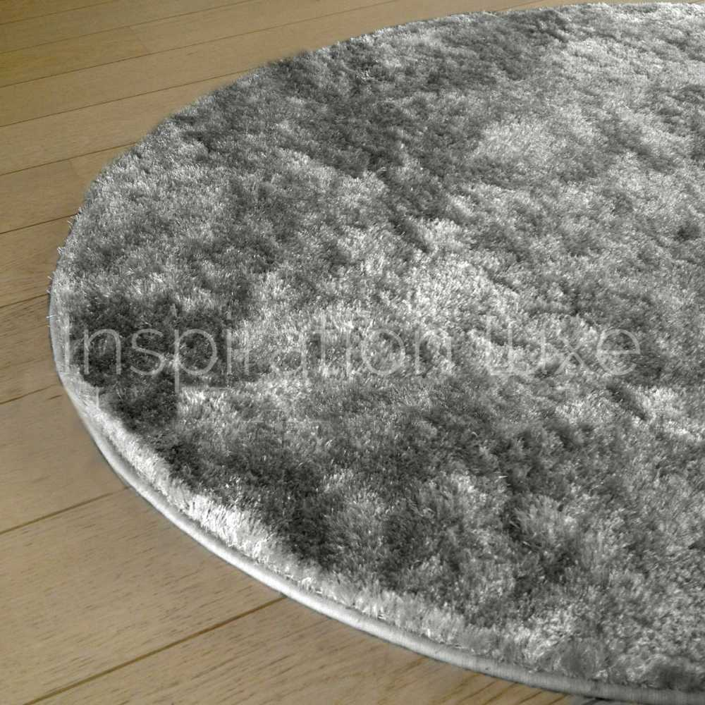 tapis sur mesure rond gris clair shaggy fin par. Black Bedroom Furniture Sets. Home Design Ideas