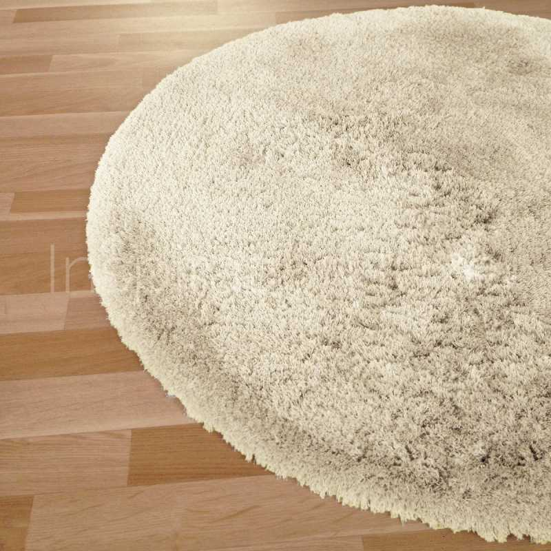 tapis rond sur mesure beige longues m ches moelleux. Black Bedroom Furniture Sets. Home Design Ideas