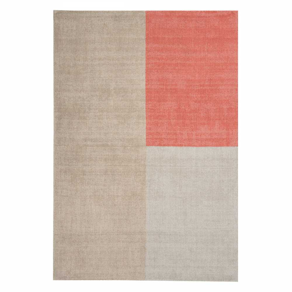 Tapis contemporain en laine beige et corail design g o trique for Plaid contemporain