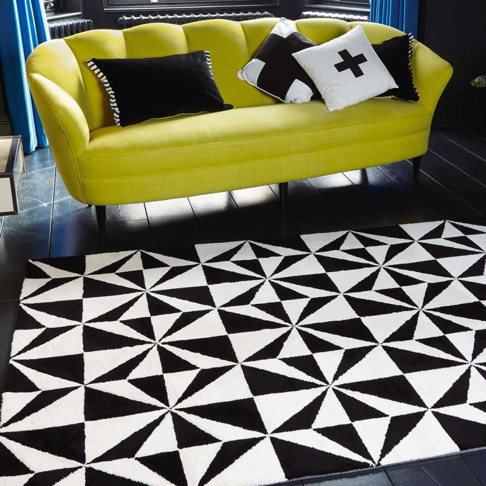 tapis design bicolore noir et blanc motifs g om triques. Black Bedroom Furniture Sets. Home Design Ideas