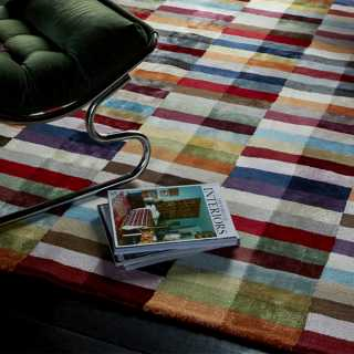 Tapis design graphique multicolore en viscose