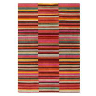 Tapis design graphique rouge en laine
