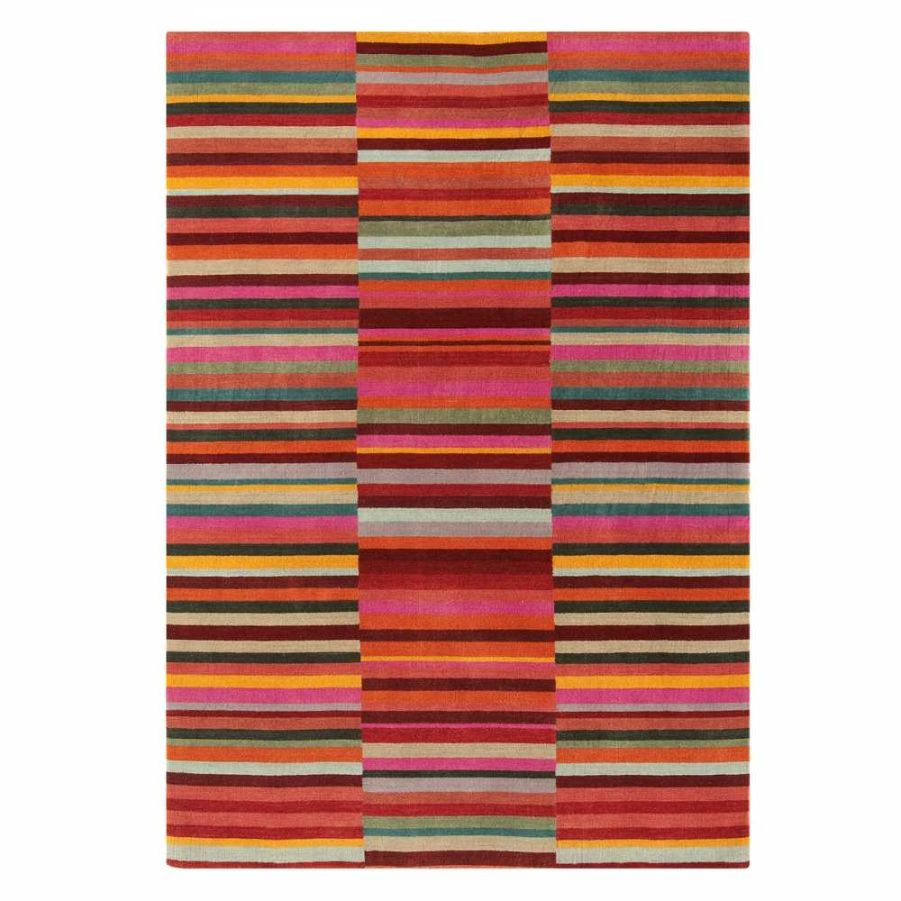 Tapis Design Graphique Multicolore Rouge En Laine