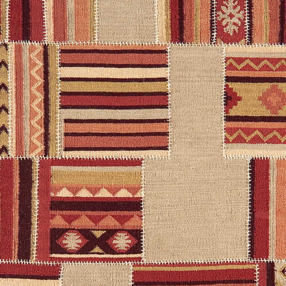 tapis design patchwork kilim rouge et beige. Black Bedroom Furniture Sets. Home Design Ideas