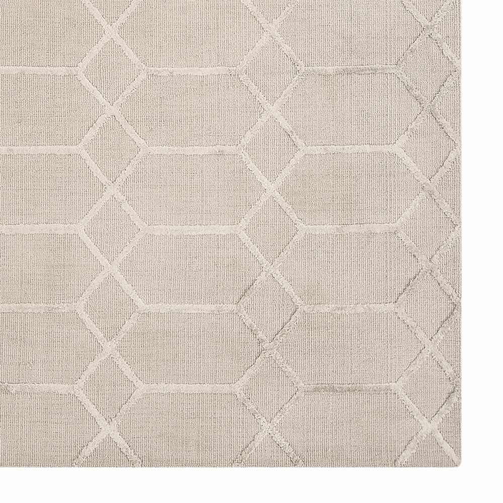 Tapis Contemporain Graphique Beige Et Gris En Viscose