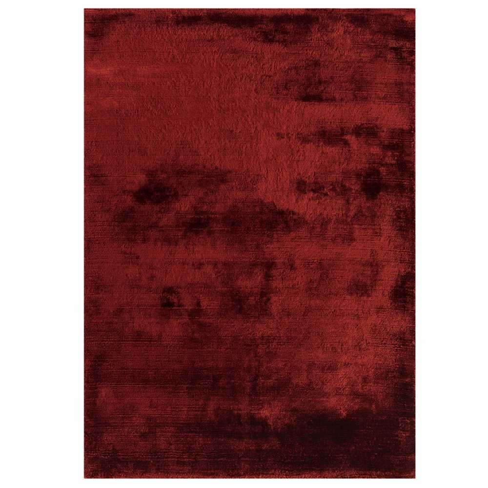 Tapis design de salon rouge douceur en viscose - Tapis de salon rouge ...