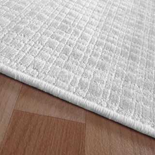 Tapis sur mesure en viscose à carreaux blanc rectangulaire ou carré