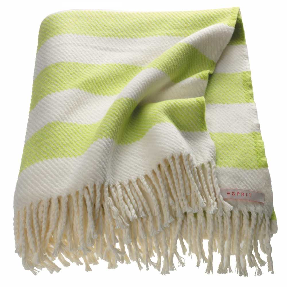 Plaid contemporain ray blanc et vert par esprit home 140 for Plaid contemporain