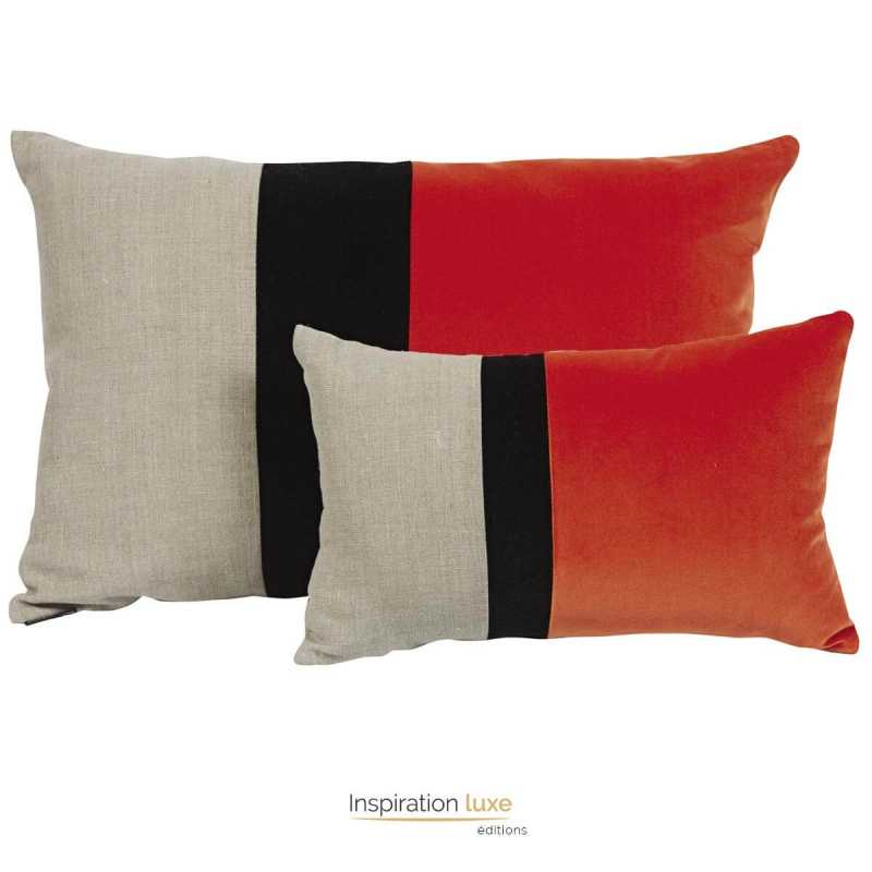 coussin orange beige et noir rectangulaire en lin et velours. Black Bedroom Furniture Sets. Home Design Ideas