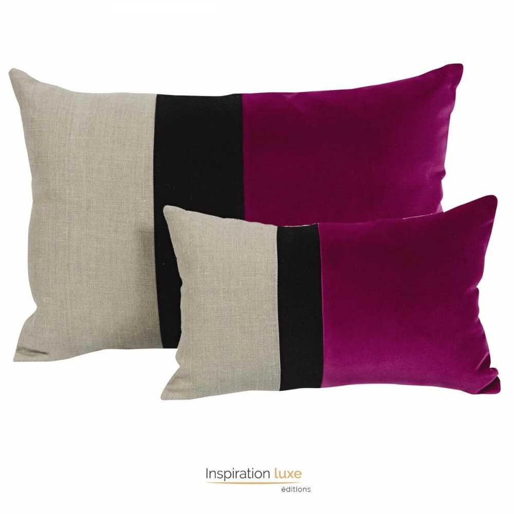 coussin rectangulaire de qualit moelleux fushia beige et. Black Bedroom Furniture Sets. Home Design Ideas