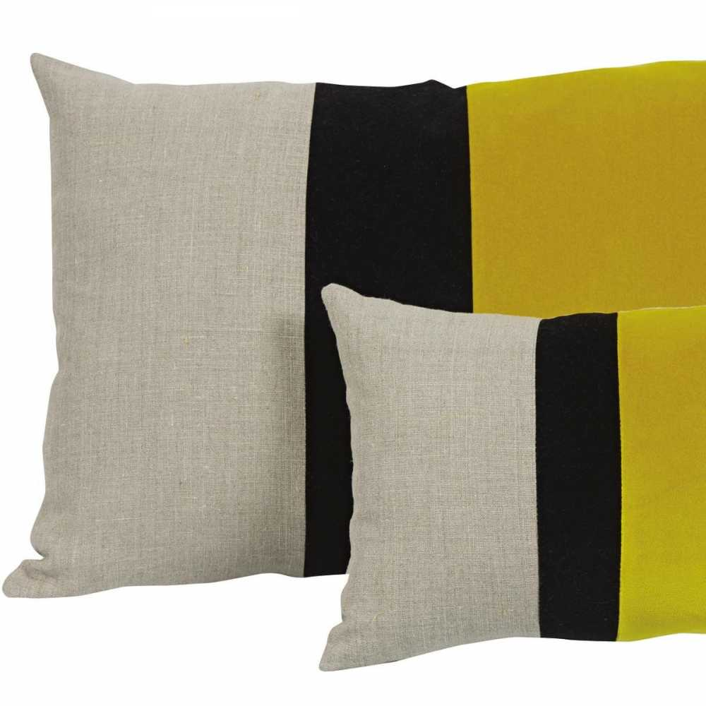 coussin rectangulaire contemporain moelleux jaune beige et noir. Black Bedroom Furniture Sets. Home Design Ideas