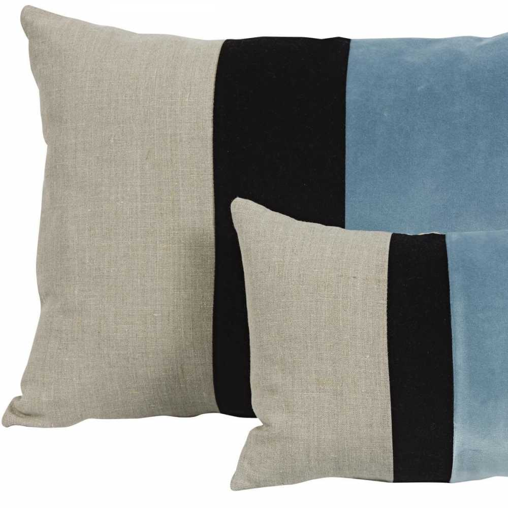 coussin design rectangulaire tricolore beige noir et bleu glacier 2 tailles disponibles. Black Bedroom Furniture Sets. Home Design Ideas