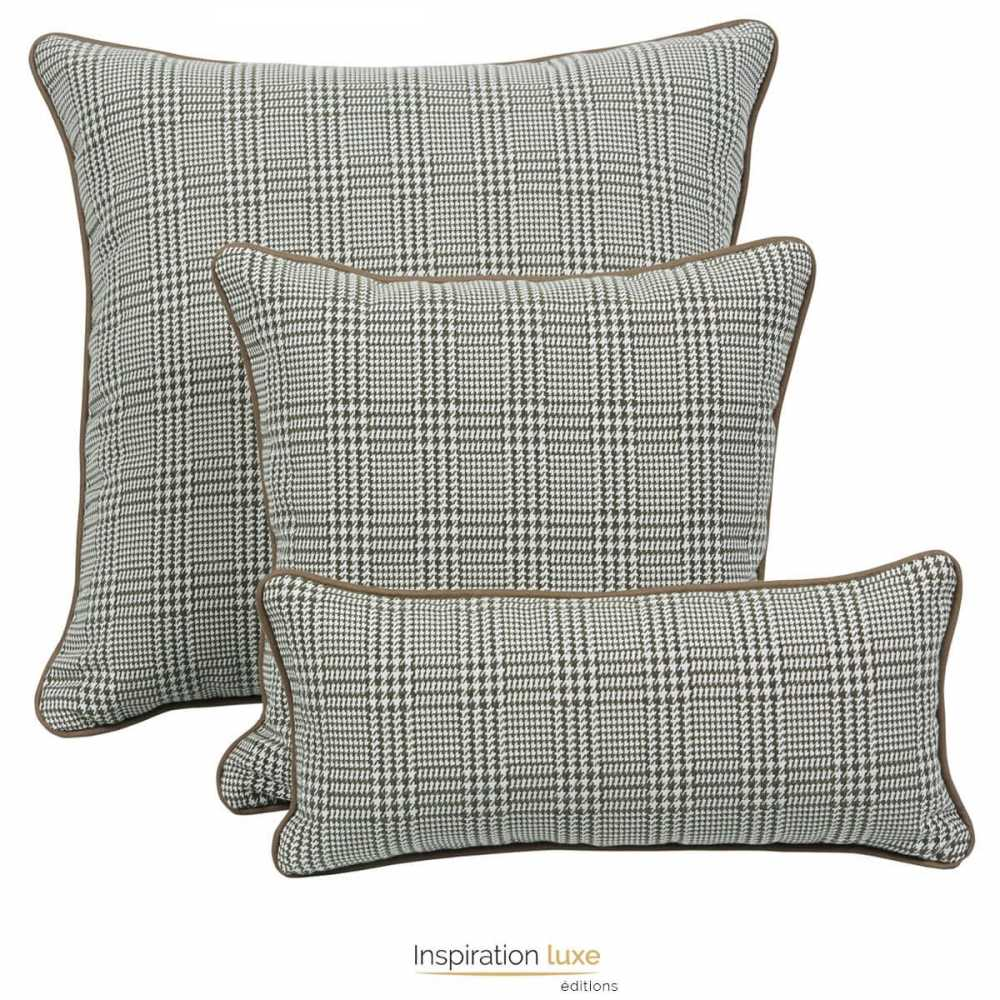 coussin design carreaux gris et beige 3 tailles disponibles. Black Bedroom Furniture Sets. Home Design Ideas