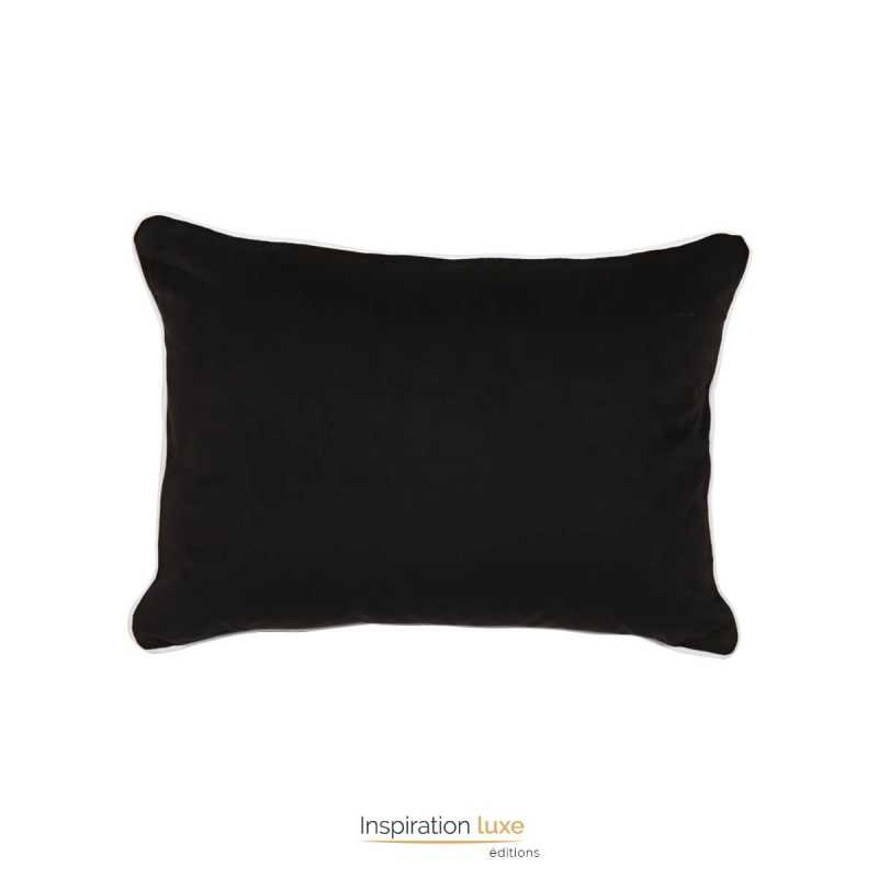 coussin uni en velours noir rectangulaire taille 60 x 45 cm. Black Bedroom Furniture Sets. Home Design Ideas