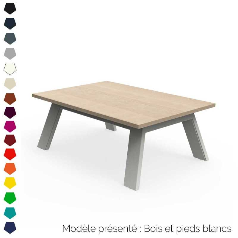 Table basse rectangulaire ou carr e en bois et acier - Table carree ou rectangulaire ...