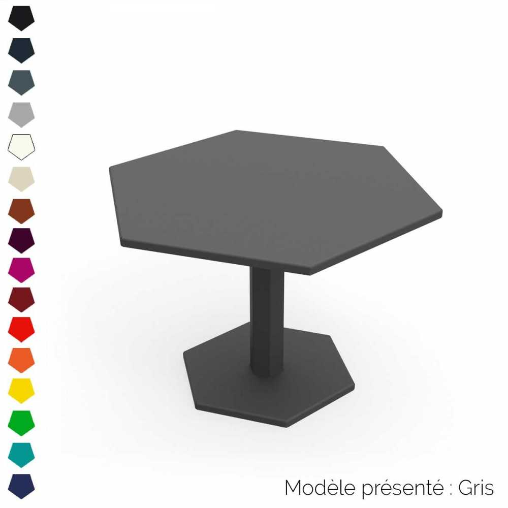 table basse hexagonale en acier personnalisable d. Black Bedroom Furniture Sets. Home Design Ideas