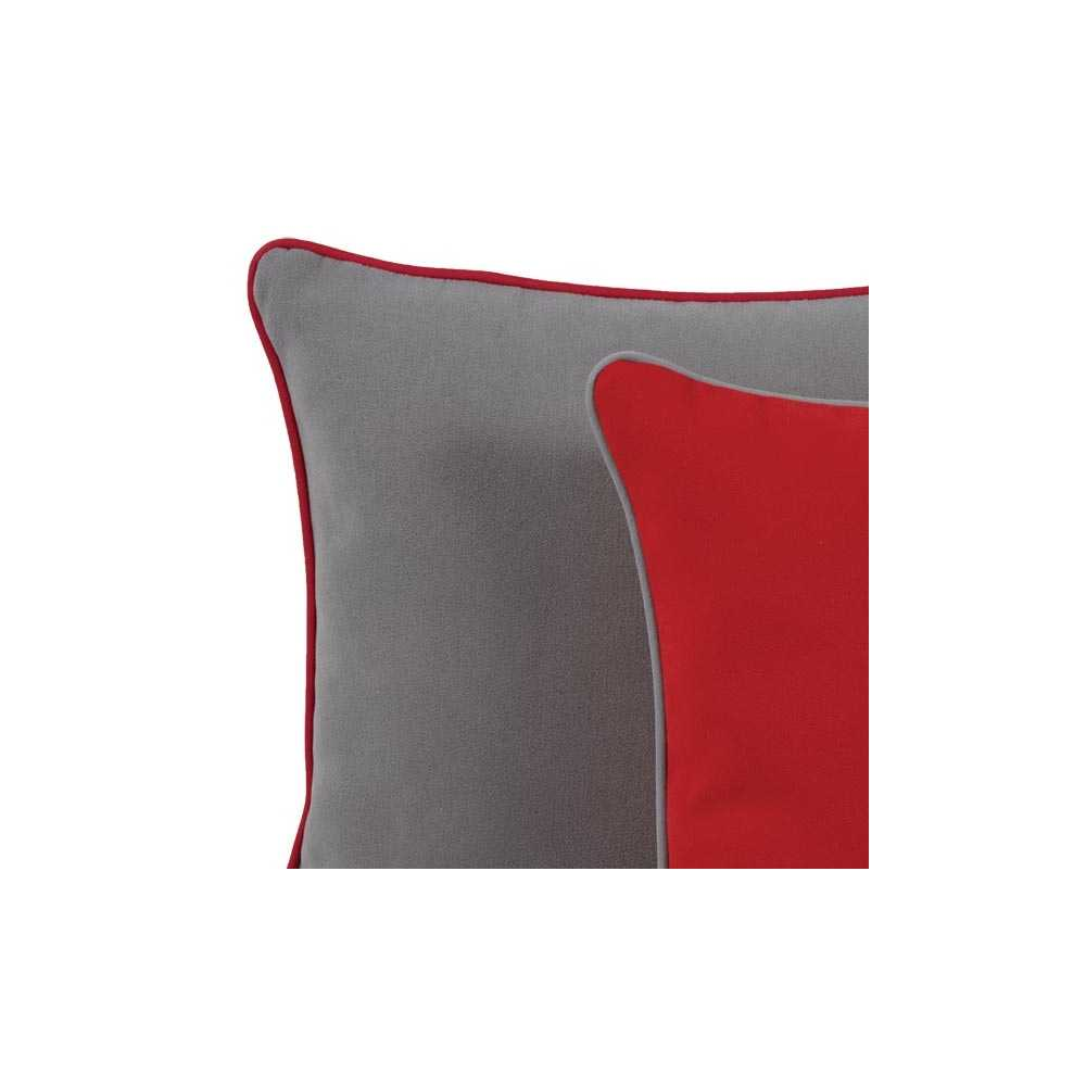 coussin de luxe uni rouge bord gris 45 x 45 cm. Black Bedroom Furniture Sets. Home Design Ideas