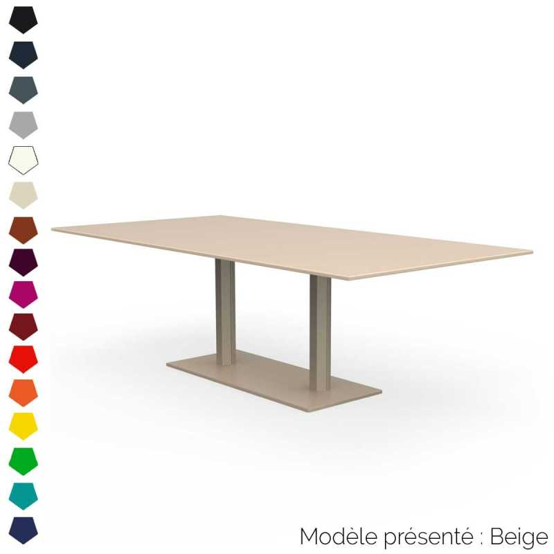 Table rectangulaire en m tal 2 pieds d 39 int rieur et d for Table d exterieur en aluminium