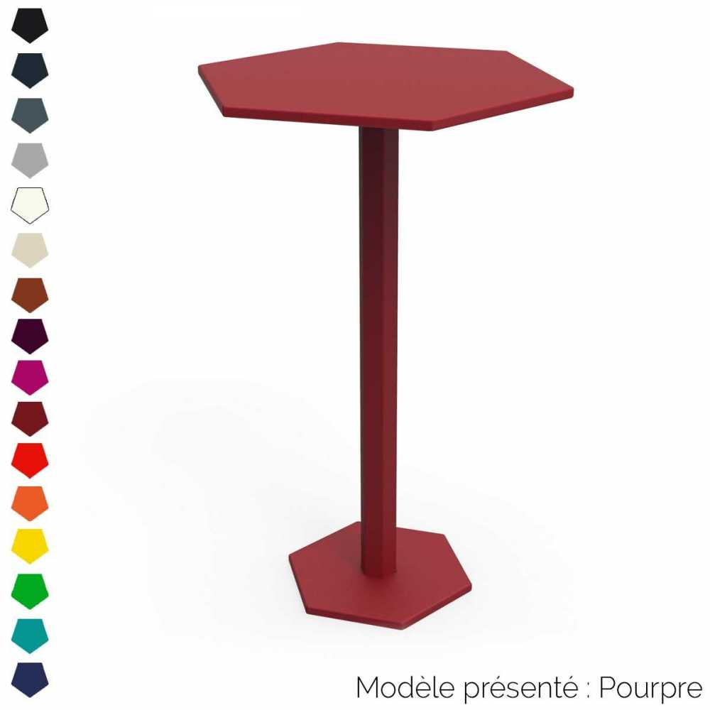 Table haute hexagonale design personnalisable d 39 int rieur for Table exterieur luxe