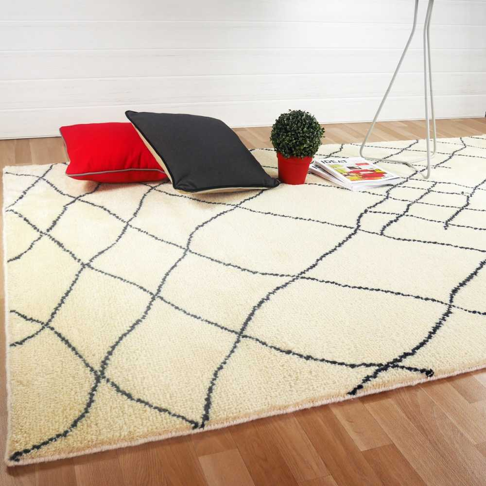 tapis moderne motifs berb res beige en laine. Black Bedroom Furniture Sets. Home Design Ideas