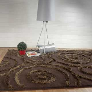 Tapis de luxe marron motifs ronds à reliefs Circular par Inspiration Luxe Collection