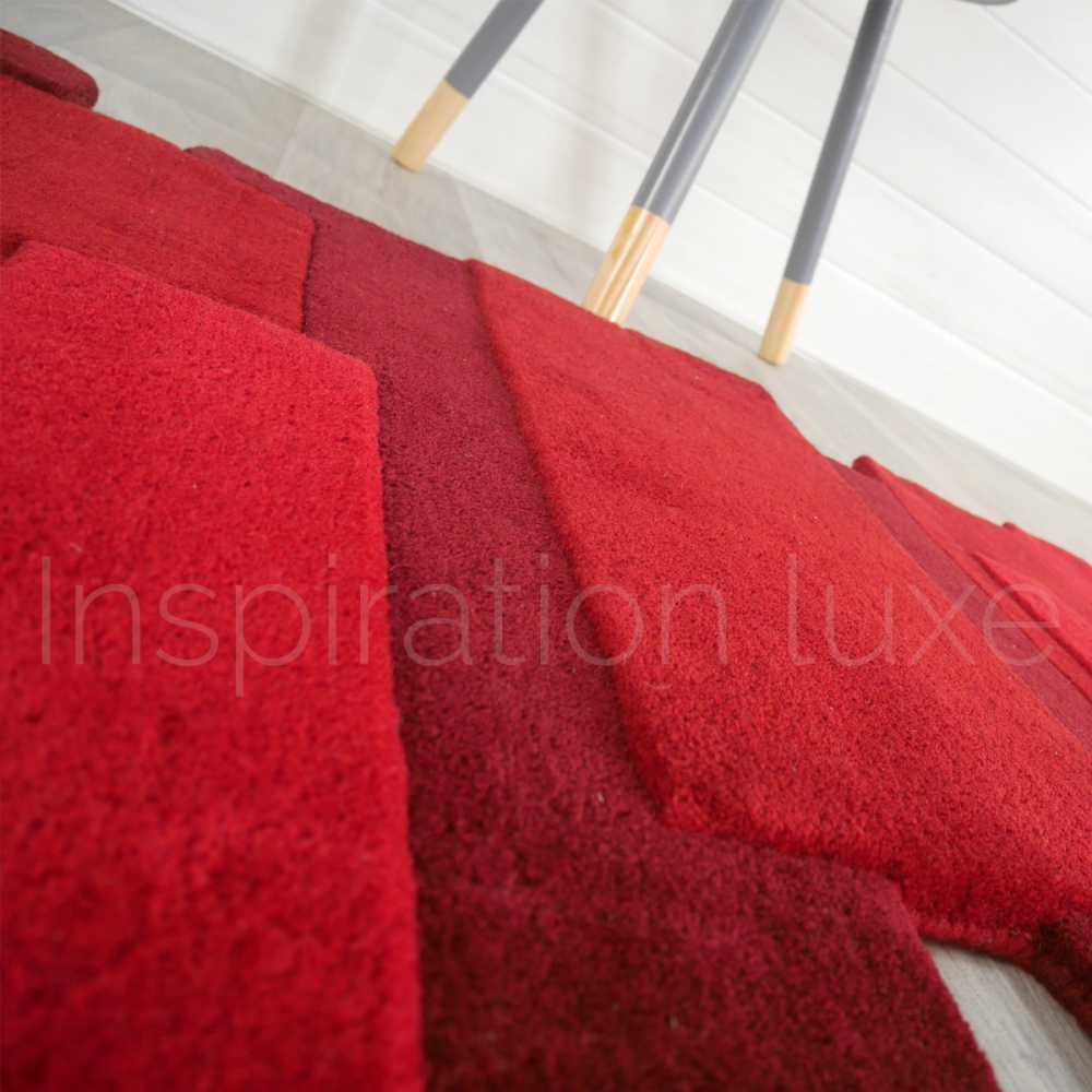 Tapis de luxe design fantaisie rouge Pebbles rectangulaire par Angelo 170 x 240 cm