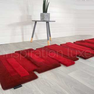 Tapis de luxe design fantaisie rouge Pebbles rectangulaire par Angelo