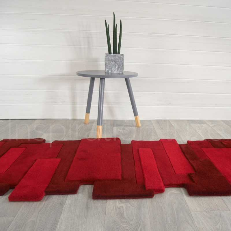 tapis sur mesure rouge de couloir design pebbles par angelo. Black Bedroom Furniture Sets. Home Design Ideas