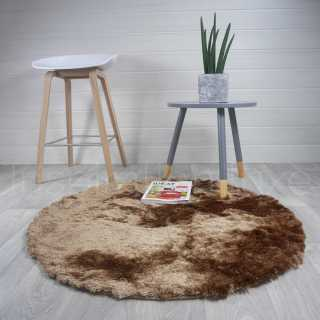 Tapis beige rond longues mèches en polyester