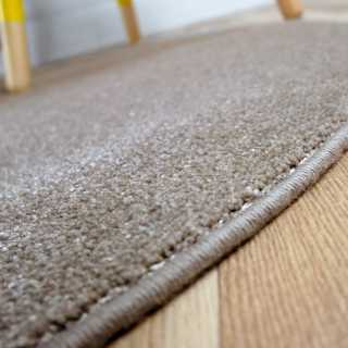 Tapis fin rond taupe en polyamide par Inspiration Luxe