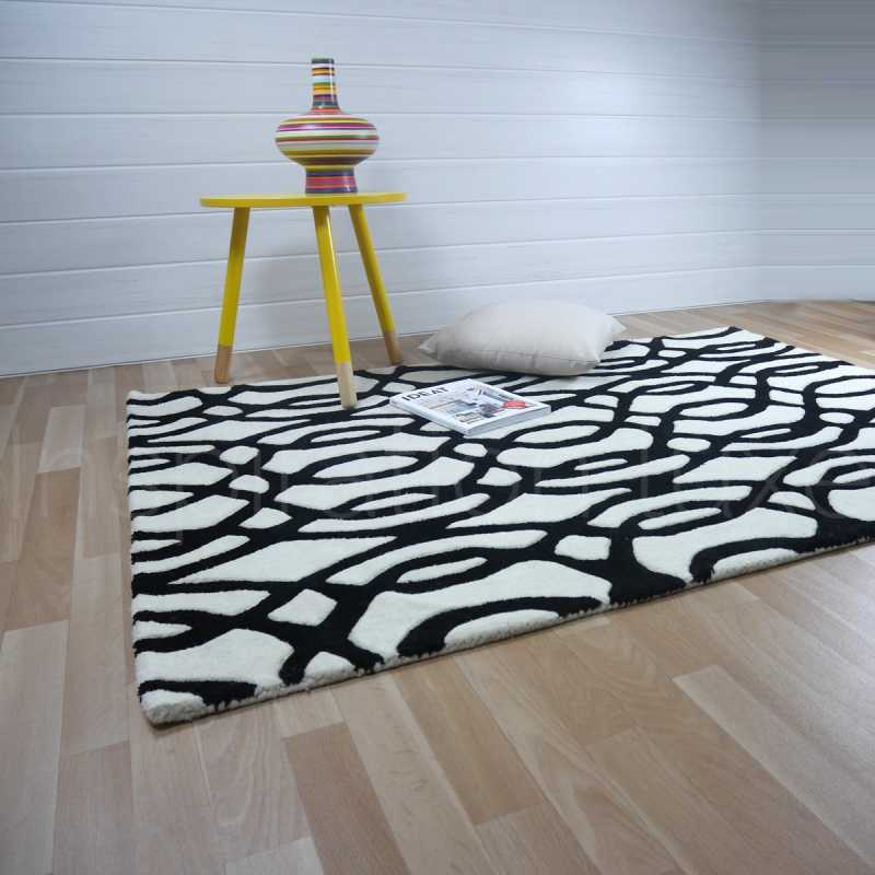 Tapis de salon design noir et blanc en laine fait main for Tapis de salon en laine