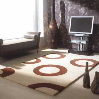 Tapis en laine design beige et marron Polo par Carving