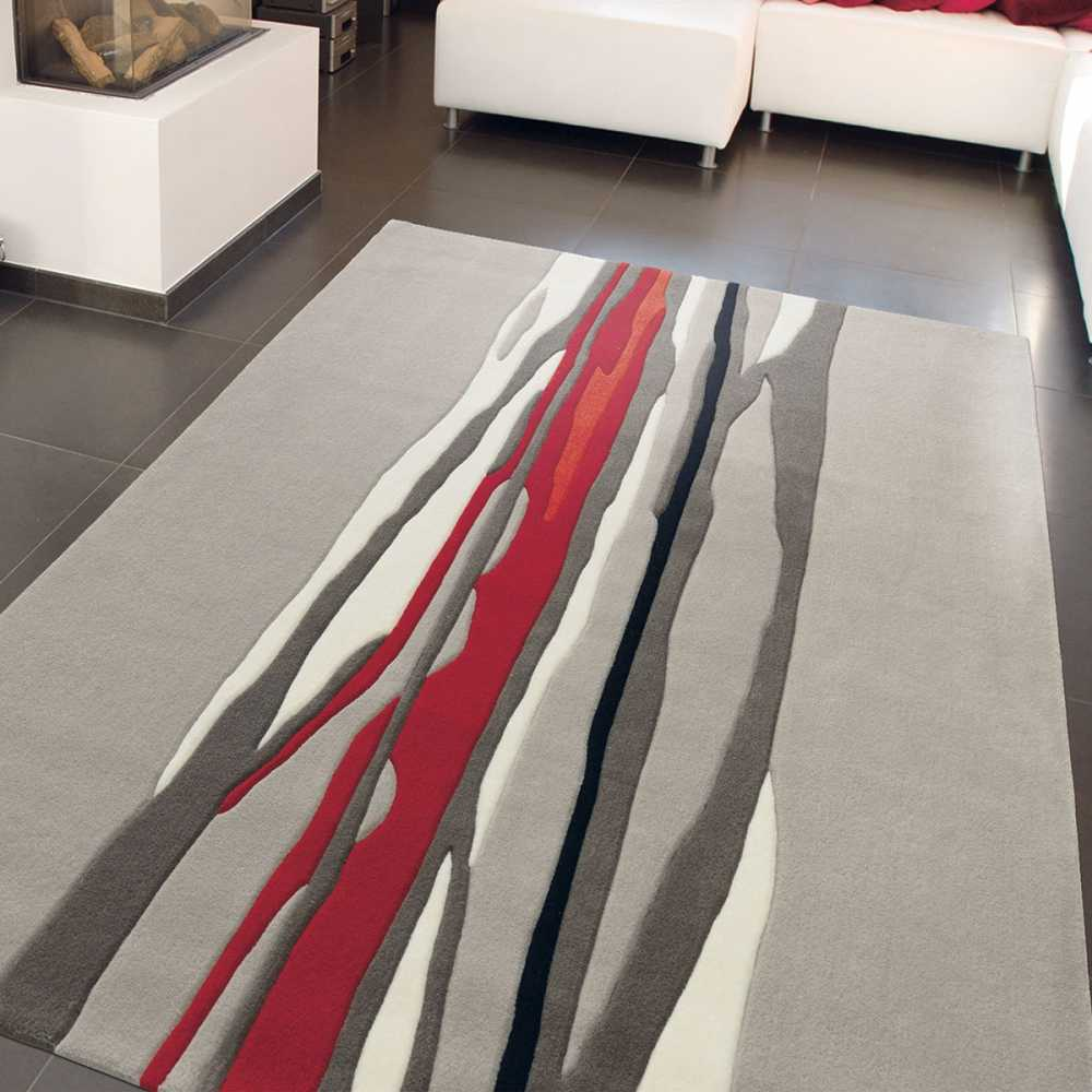 tapis de luxe red trace taupe et rouge par arte espina. Black Bedroom Furniture Sets. Home Design Ideas