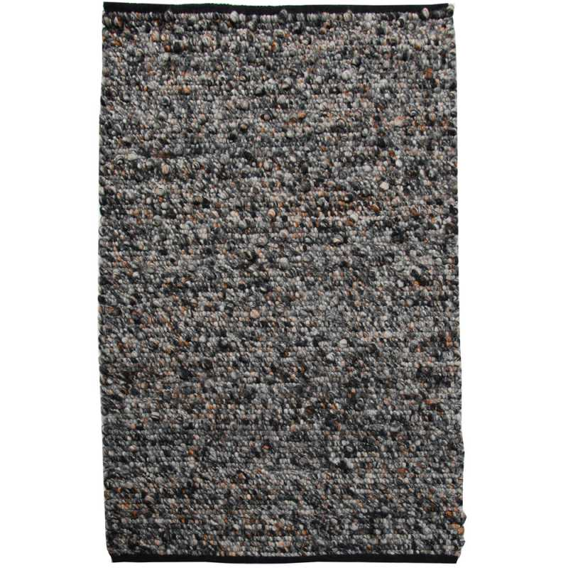 Tapis de luxe en laine Waves avec nuances de gris et touches d'orange par Angelo