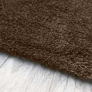 Tapis sur mesure marron chocolat lavable en machine aspect viscose