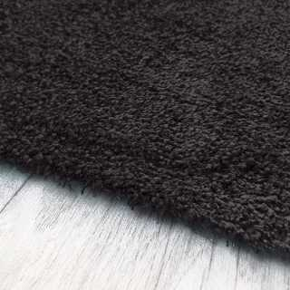 Tapis fin gris anthracite sur mesure lavable en machine aspect viscose