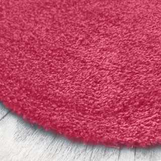 Tapis rond sur mesure de luxe lavable en machine rose aspect viscose
