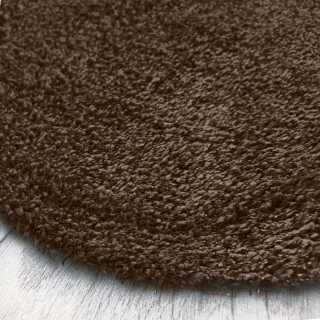 Tapis rond marron chocolat sur mesure lavable en machine aspect viscose
