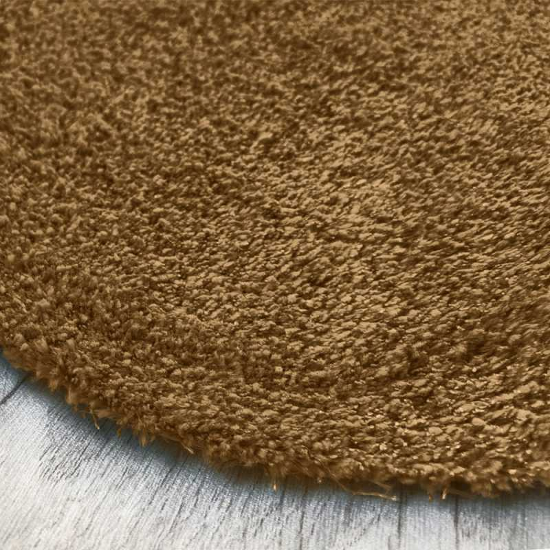 Tapis rond sur mesure lavable en machine marron clair aspect viscose