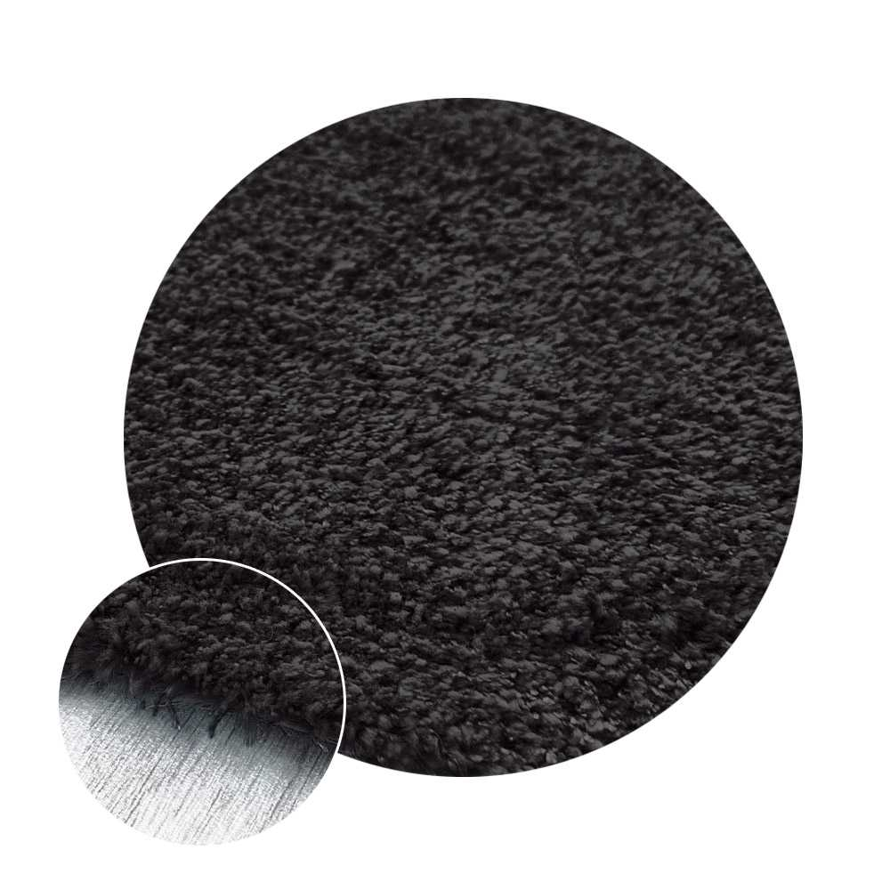 Tapis de luxe rond fin gris anthracite sur mesure lavable en machine aspect viscose