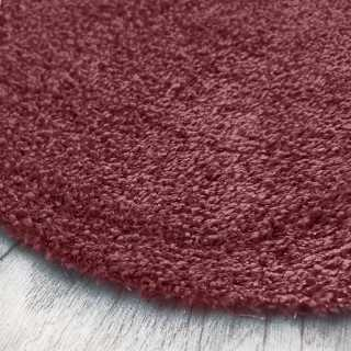 Tapis de luxe rond sur mesure lavable en machine lie de vin aspect viscose