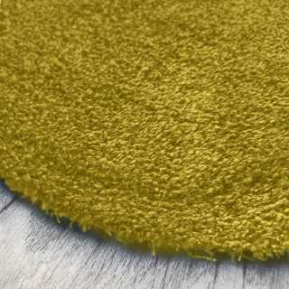 Tapis de luxe rond sur mesure lavable en machine jaune aspect viscose